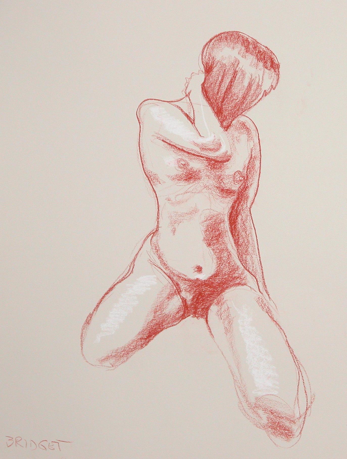 Girl drawn with Conte crayon